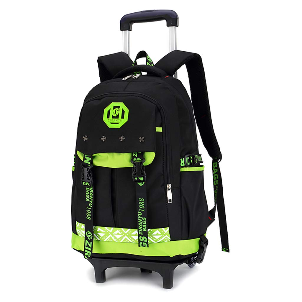 MARTER ZLXING Trolley Student Book Bag for 4-6 Grade Pulley Children Backpack Six Rounds Waterproof for Kids Child-Green by MARTER