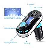 [Upgraded Version] VicTsing Bluetooth MP3 Player FM Transmitter Hands-free Car Kit Charger, Dual USB Charging 5V/2.1A Output, Micro SD/TF Card Reader Slot for iPhone 7 SE 6s 6s Plus iPhone 6 6 Plus, Samsung Galaxy S6 S6 Edage S7 S7 Edage, iPad, etc - Silver Bild 1