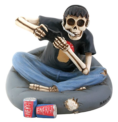 SUMMIT COLLECTION Skull Gamer Sitting on Cushion Collectible Figurine
