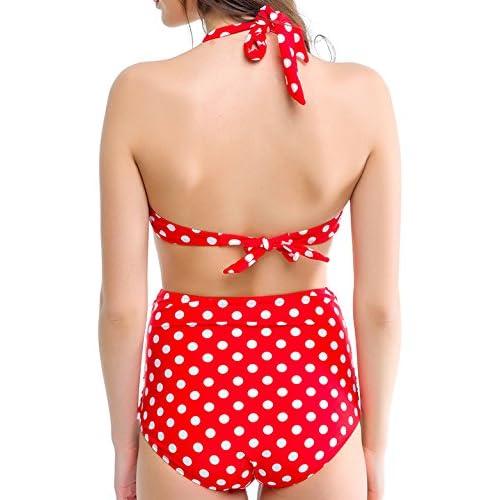 27c766bbb32 Angerella Women Retro Polka Dot High Waisted Swimsuit Swimwears 50 ...