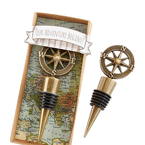 (RoseSummer Vintage Bronze Compass Wine Bottle Stopper Bar Tools Souvenirs for Travel Theme Party Decorations)