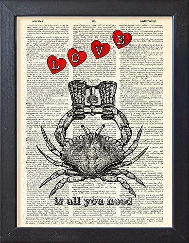 Love Poster Love Is All You Need, Sea Life Crab Print, Book Page Art Wall Decor
