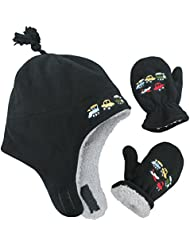 N'Ice Caps Little Boys and Baby Sherpa Lined Micro Fleece Pilot Hat Mitten Set