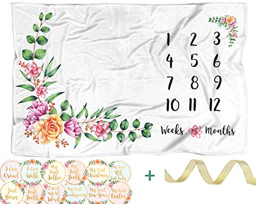 ELLO HOME Baby Fleece Monthly Milestone Blanket with 12 Stickers | 60''x40'' Large Soft Month to Month Age Blankets, Infant Girl Newborn Photo Prop, Plush Keepsake Registry Gift, Neutral Baby Shower by ELLO HOME BABY