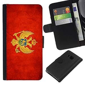 EJOY---La carpeta del tirón la caja de cuero de alta calidad de la PU Caso protector / HTC One M9 / --Nacional bandera de la nación País Montenegro