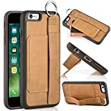 """iPhone 6 Wallet Case, LAMEEKU Genuine Leather Slim iPhone 6S Case with Credit Card Holder Slot,Kickstand case with Hand Strap Ring Holder, Shockproof Cover for Apple iPhone 6 /6s 4.7"""" Brown"""