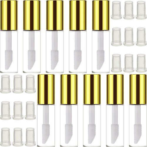 Hicarer 30 Pack 1.2 ml Clear Mini Lip Gloss Tube Empty Lip Balm Cute Bottle Cosmetic Gloss Tube Travel Gloss Container with Lid for Lipstick Samples (Gold)