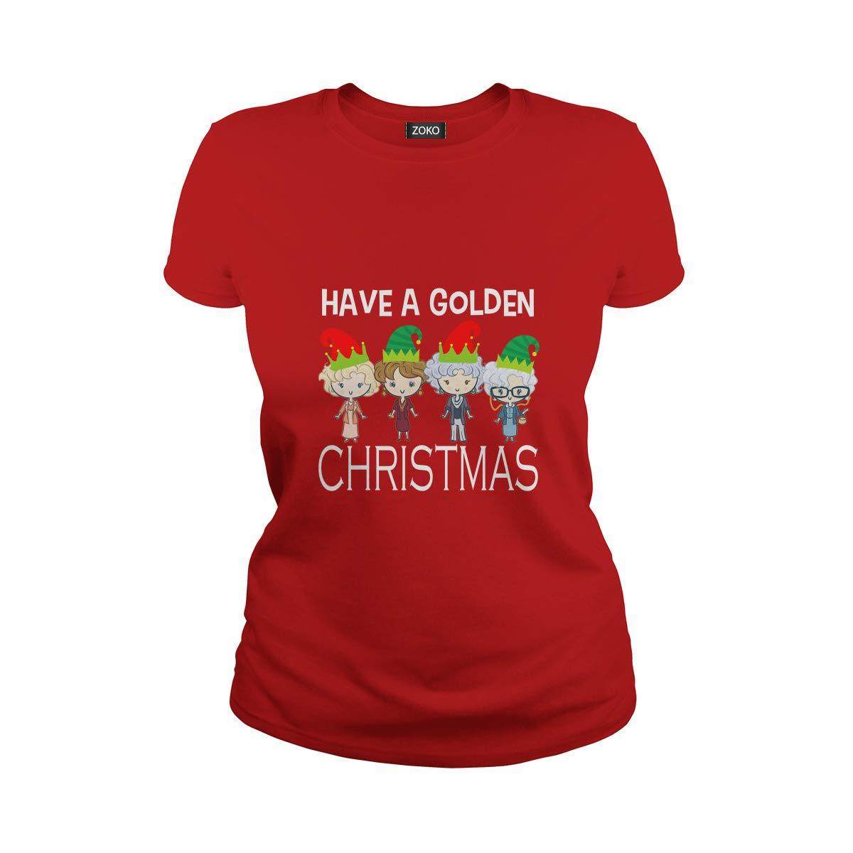 Ladies Tee Red XXLarge Zoko Apparel Have A golden Christmas TShirt