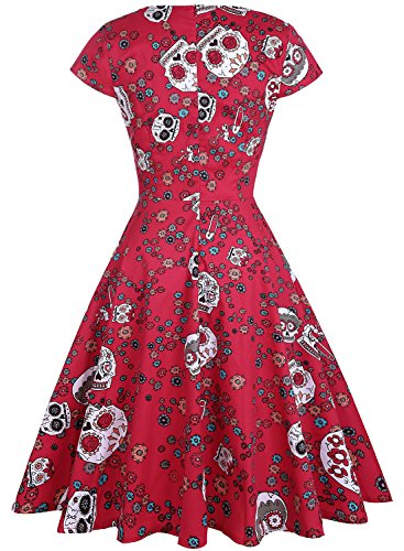 9a7b953fe4c OTEN Women s Floral Sugar Skull Cap Sleeve Sewing Retro Party Rockabilly  Dress