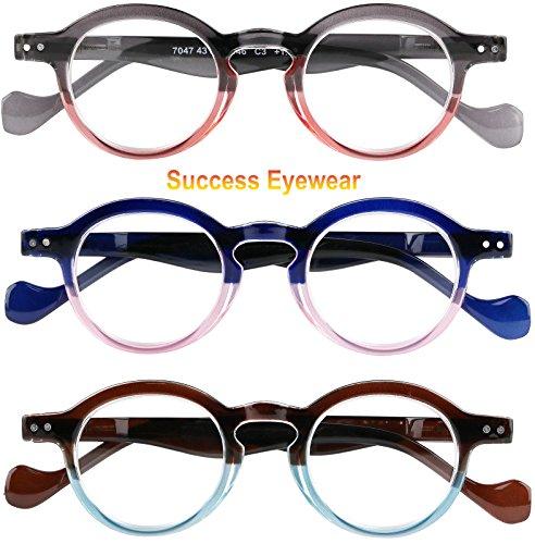 Reading Glasses 3 Pairs Fashion Springe Hinge Readers Glasses for Reading Men and Women - Female Glasses
