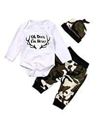 Baby Boy Girl 3pcs Camo Suit Deer Print Long Sleeve Romper+Long Pants+Hat