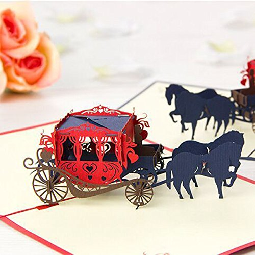 Wedding Carriage 3D Pop Up Greeting Card Valentine Proposal Wedding Party Greeting Card