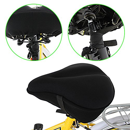 Yougai Exercise Bike Seat, Big Size Soft Wide Gel Bicycle Cushion for Bike Saddle, Comfortable Bike Seat Cover Fits Cruiser and Stationary Bikes, Indoor Cycling (For Large Seat)