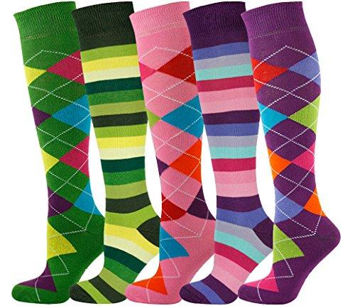 Mysocks Unisex Knee High Long Socks Argyle Multi Pack -