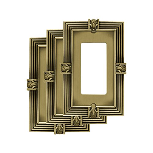 Decorator Brass Solid (Franklin Brass 64473M Single Decorator Wall Switch Plate/Cover (3 Pack), Tumbled Antique Brass)