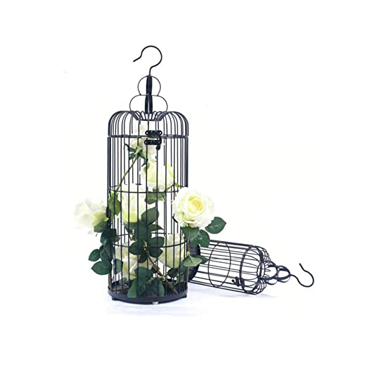jaula HLF- Soporte de Flores pájaros Negro, pájaros Decorativa ...
