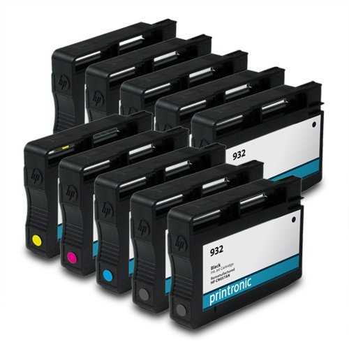 Printronic Remanufactured Ink Cartridge Replacement for HP 932 CN057AN ( Black,Cyan,Magenta,Yellow , 10-Pack )