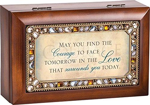 Jeweled Jewelry (May You Find The Courage Jeweled Woodgrain Jewelry Music Box - Plays Tune Wind Beneath My)