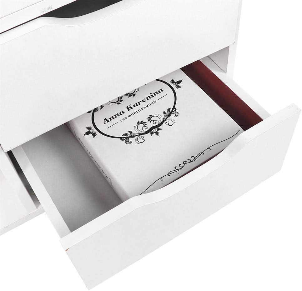 in Stile Nordico Mobile Bagno 48 * 30 * 53cm Comodino Mobile Bagno Bianco Zoternen 3 Piani Comodino Piccolo Comodini Letto in Legno
