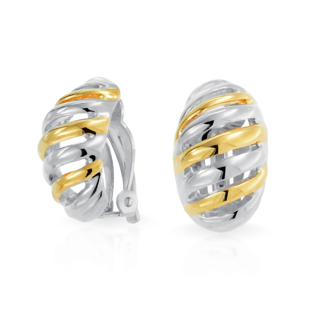 Huggie Hoop Clip On Earrings Shrimp Style Two Tone Gold Plated and Rhodium Plated Brass