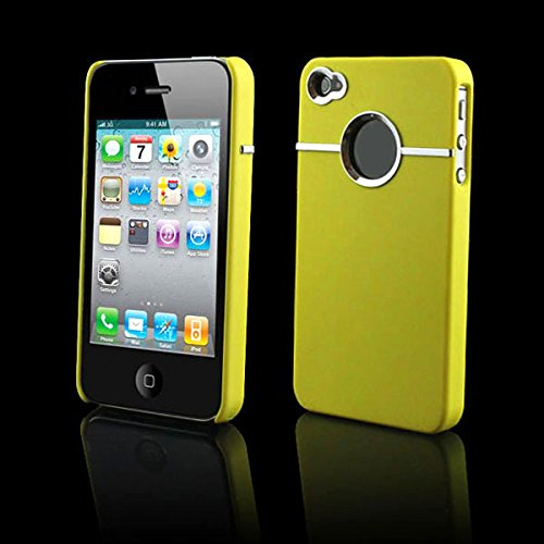 Aobiny Mobile Case Hard Back Cover Case Skin With CHROME FOR Apple iPhone 4S 4 4G Yellow (4g Bumper)