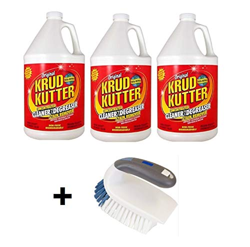 Krud Kutter Cleaner & Degreaser, (3-Pack) 1 Gal with 2-In-1 Iron Handle Brush (BUNDLE SET)