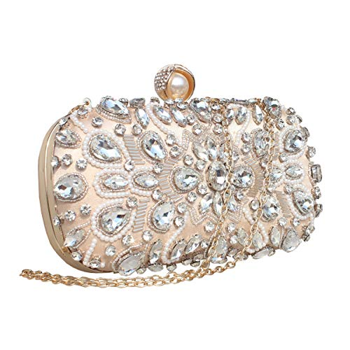 (GESU Womens Crystal Evening Clutch Bag Wedding Purse Bridal Prom Handbag Party Bag. (Beige))