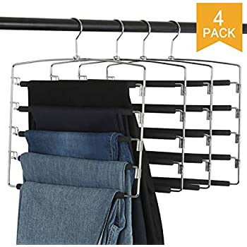 AMKUFO Pants Hangers 5 Layers Multi Trouser Hangers Slack Hangers Scarf Hangers Space Saving Hangers Stainless Steel Non-Slip Foam Padded Swing Arm Pack of 3