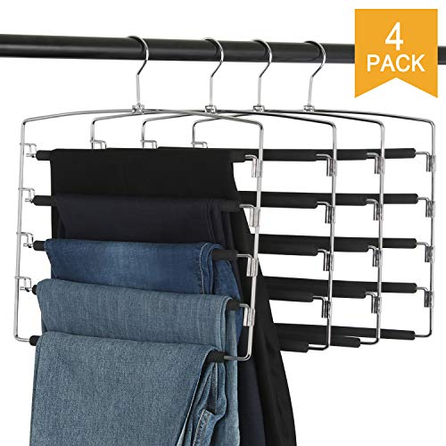 Clothes Pants Slack Hangers Closet Storage Organizer Non Slip Space Saving Hanger with Foam Padded Swing Arm for Pants Jeans Scarf Trousers Skirts (Updated Version-4pcs Black)