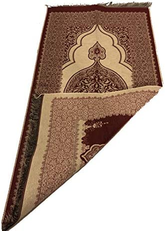 Luxury Ottoman Stamp Islamic Prayer Rug Janamaz Sajjadah Muslim Turkish Prayer Rug Red