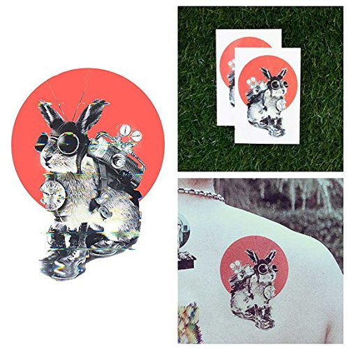 Steampunk Makeup (Tattify Steampunk Bunny Temporary Tattoo - Time Traveller (Set of 2) - Other Styles Available and Fashionable Temporary Tattoos - Tattoos that are Long Lasting and Waterproof)