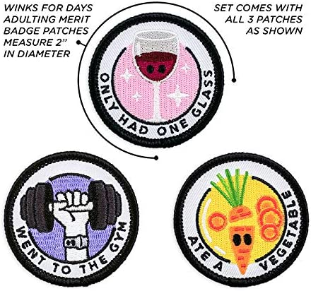 Winks For Days Adulting Merit Badge Embroidered Iron-On Patches Achievements - Set 2