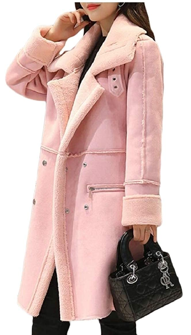 Pink pujinggeCA Womens Winter Fleece Casual Suede Thicken Overcoat Peacoat Trench Coat