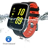 BUENAVO GV68 Health Smart Watch with 1.54 inch Large HD LCD Display, IP68 Wireless Bluetooth Call Remind Auto Sleep Monitor Sport Pedometer Fitness Tracker for Android IOS Phones (Red)