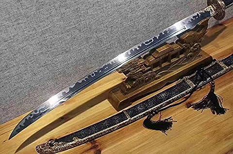 Chinese sword,Broadsword(Folding pattern steel burn blade,Black skin scabbard,Brass fitting)Full tang,Length - Excalibur Folding Knife