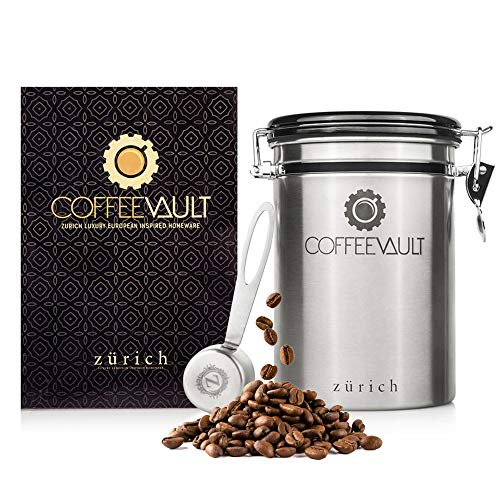 (Zurich Coffee Canister Coffee Container Airtight - Large Stainless Steel Coffee Storage Vault - Coffee Canister with Scoop - Coffee Bean Container with CO2 Valve to Keep Beans Fresh - 1lb)