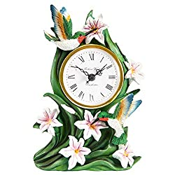 The Paragon Hummingbird Desk Clock - Tabletop Clock for Bird Lovers, 3D Hummingbird and Lily Battery Operated Cock, Home and Office Decor