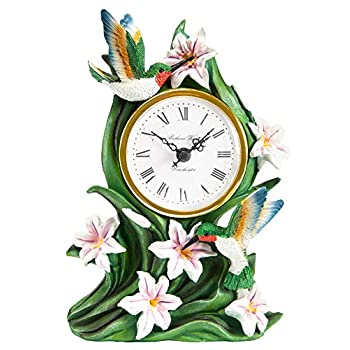 The Paragon Hummingbird Desk Clock - Tabletop Clock for Bird Lovers, 3D Hummingbird and Lily Battery Operated Clock, Home and Office Decor