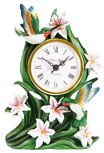 The Paragon Hummingbird Desk Clock - Tabletop Clock for Bird Lovers, 3D Hummingbird and Lily Battery Operated Clock, Hummingbird Bird Clock, Home and Office Decor