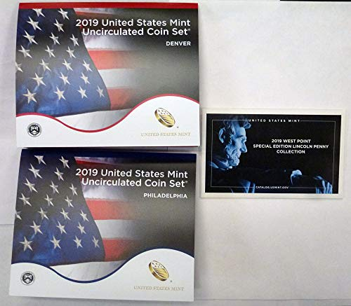 (2019 P & D U.S. Mint Coin Set with West Point Penny Uncirculated )