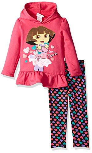 Nickelodeon Little Girls' Dora 2 Piece Heart Fleece Hooded Legging Set, Charm Peony, (Dora Short)