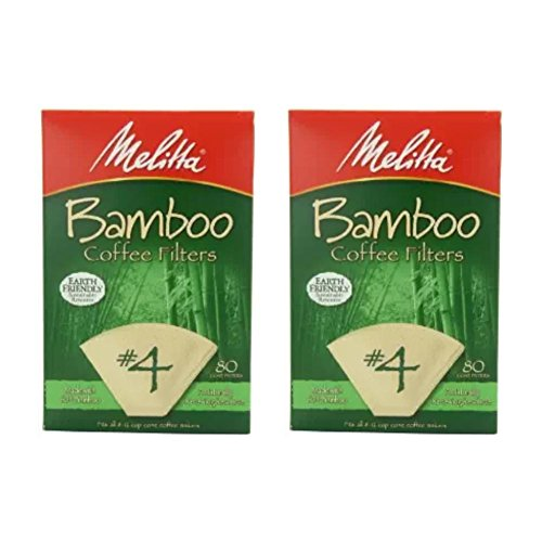 Melitta Bamboo Coffee Filters, Bamboo No 4, 80-Count Boxes (Pack of 2)