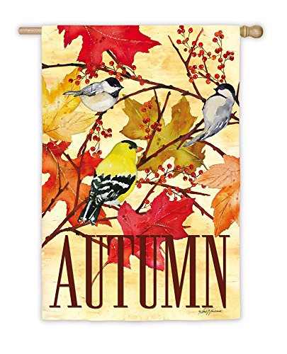 Evergreen Suede Autumn Songbirds House Flag, 29 x 43 inches