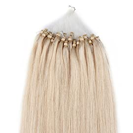 Beauty7 18″ 20″ 22″ 24″ Loop Micro Ring Beads Tipped Remy Human Hair Extensions 25g 50s 0.5g/s #60 Platinum Blonde(24″)