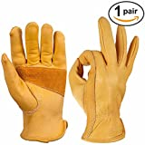 OZERO Leather Gloves, Cowhide Working Glove for Truck Driving, Wood Cutting, Heavy Duty, Construction, Garden - Grip Palm Padding - Elastic Wrist - Good Fit for Men & Women - 1 Pair (Golden, Medium)