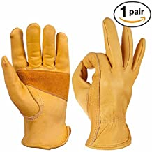 OZERO Work Gloves, Leather Gardening Glove for Truck Driving, Wood Cutting, Heavy Duty, Construction, Garden - Grip Palm Padding - Elastic Wrist - Good Fit for Men & Women - 1 Pair (Golden, Large)