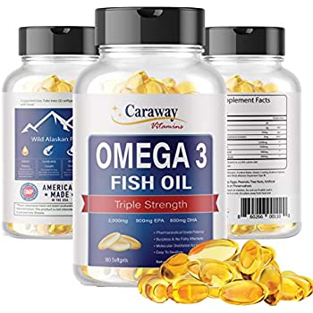 Omega 3 Fish Oil Pills - Pharmaceutical Grade 2000 mg, 900 mg EPA 600 mg DHA 180 Softgel Count. Burpless Capsules with No Fishy Aftertaste.