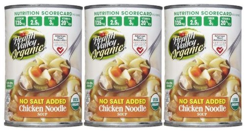 Health Valley Organic Chicken Noodle Soup, No Salt, 15 oz, 3 pk