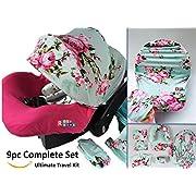 9pc Ultimate Set of Infant Car Seat Cover Canopy Headrest Blanket Hat Nursing Scarf, 25JE03