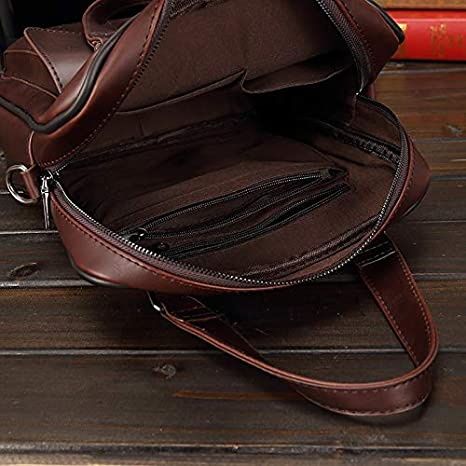 Color : Brown, Size : 13 in WHXYAA Retro Crazy Horse PU Leather New One-Shoulder Mens Messenger Bag Official Casual Mens Bag Business Crazy Horse Leather Tote Brown 13